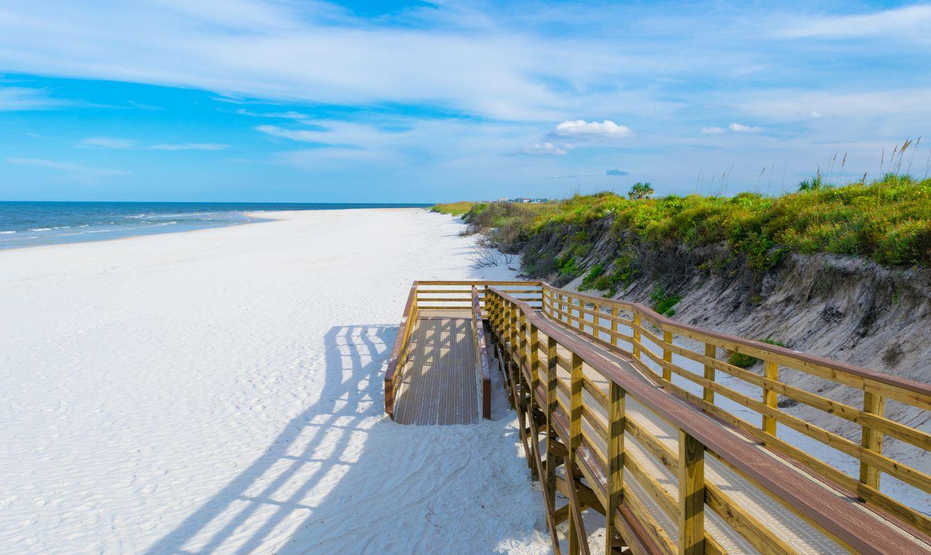 Boardwalk to the beach at Matanzas Inlet near St. Augustine, Florida