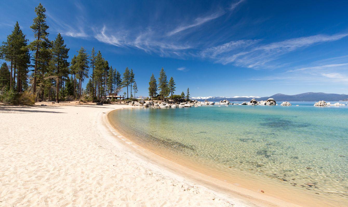 Clear skies at Pope Beach in Lake Tahoe, Nevada