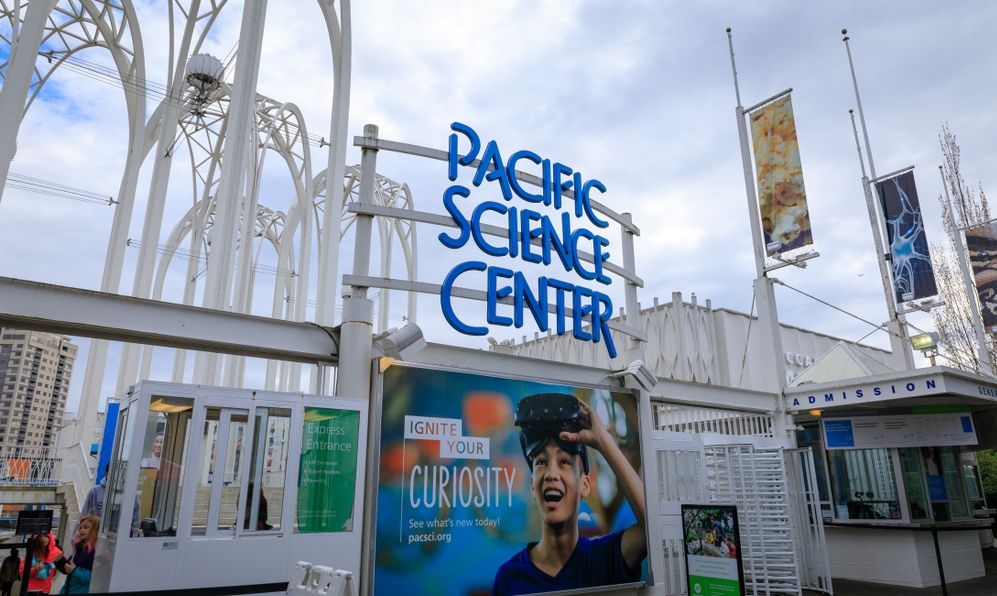 The entrance to the Pacific Science Center in Seattle