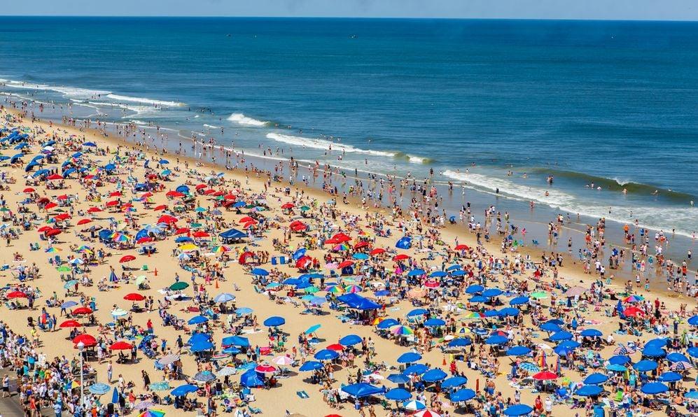 Crowded beach in Ocean City, Maryland