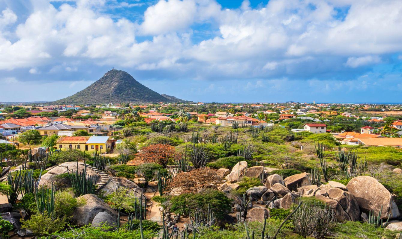 Aruba, Casibari Rock Formation with Hooiberg volcanic formation in background