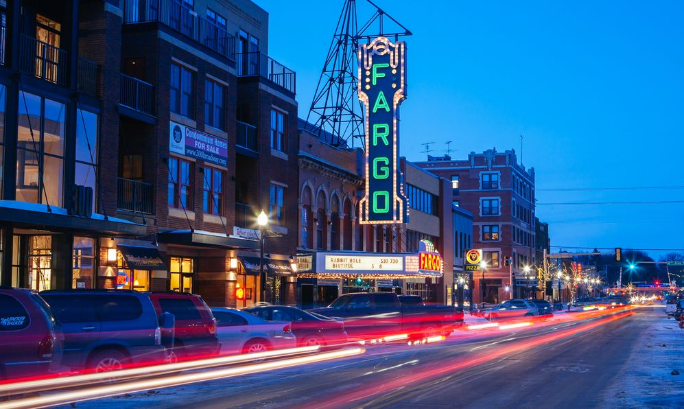 Fargo main st and theater at dusk on a cold spring evening