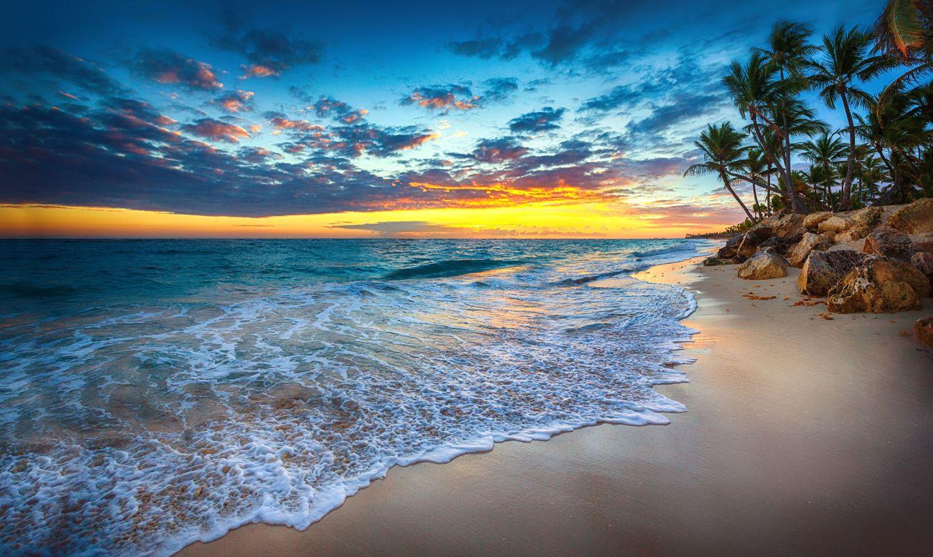 Sunrise over the beach. Punta Cana