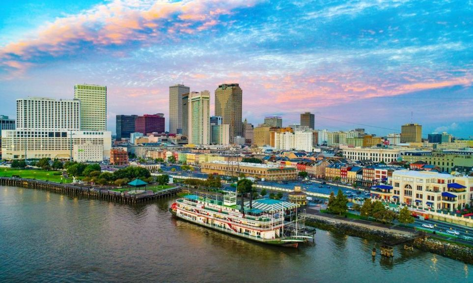 New Orleans skyline with Steamboat Natchez