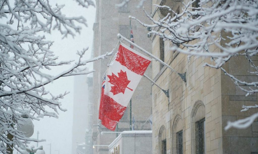 Canadian flag in Ottawa snow