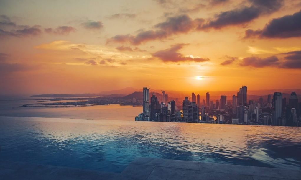 panama city skyline sunset