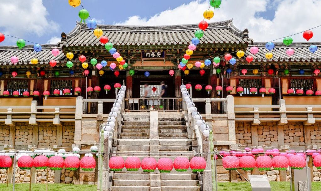 colourfully buddha temple in south korea