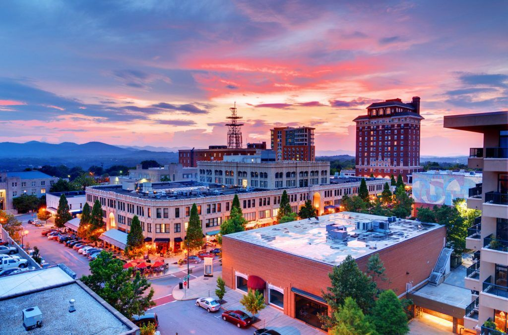 Aerial view of downtown Asheville at sunrise