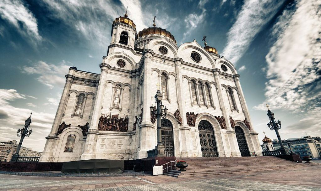 Christ the Saviour Cathedral in Moscow, Russia. Fantastic sky with dramatic clouds over the church.