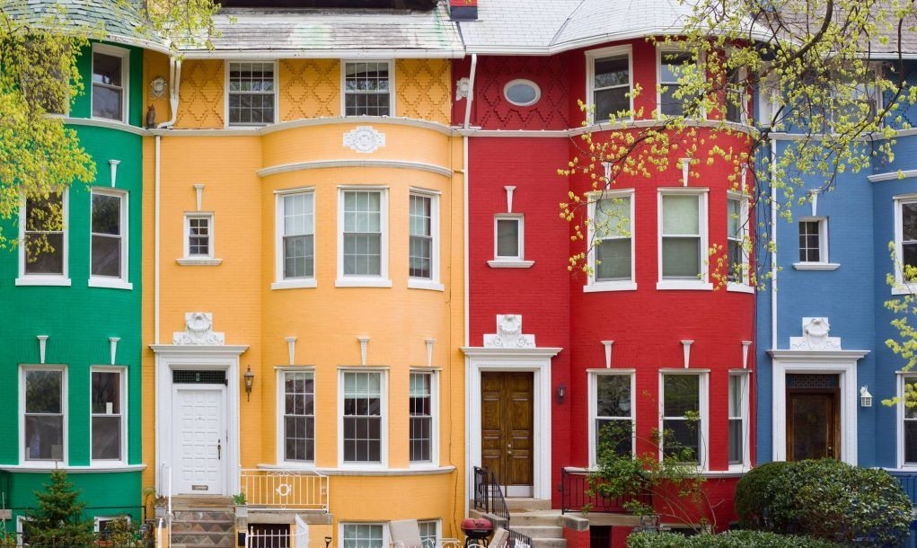 Colorful row houses in Washington DC, USA