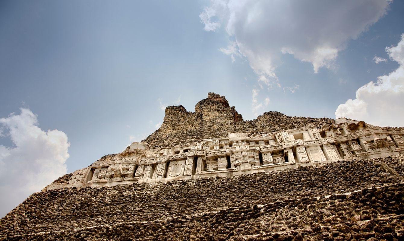 Mayan Hieroglyphs on the side of Xunantunich Mayan Ruins in Belize.
