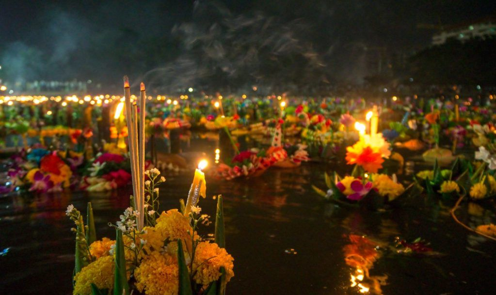 Decorative floats close-up on Loy Krathong