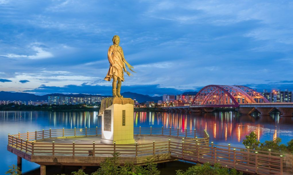The statue and bridge of chuncheon at nigth,south korea