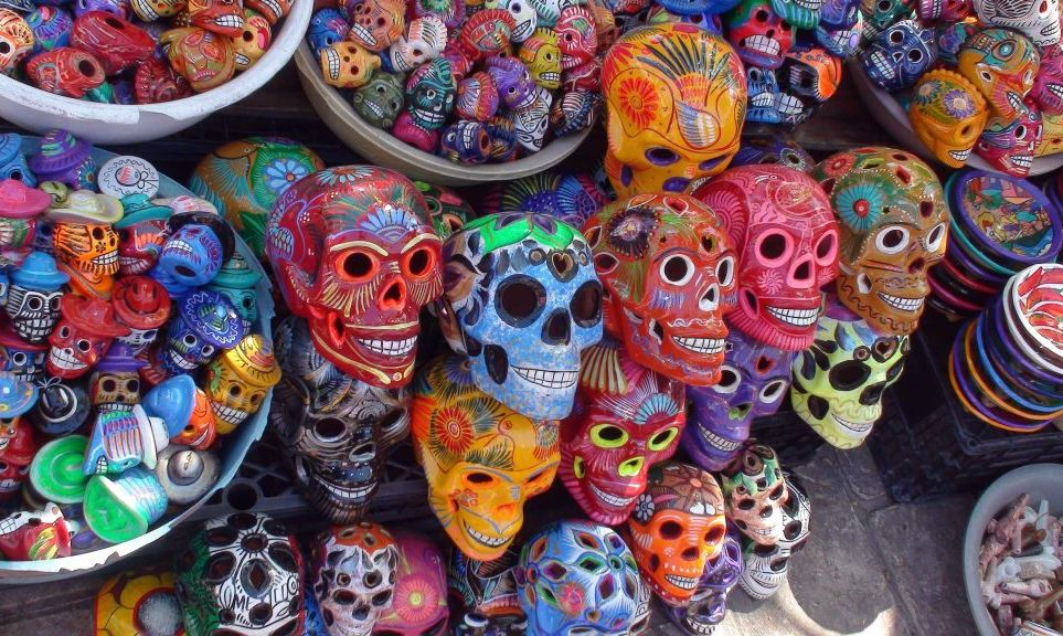 Mexican Day Of The Dead Artificial Skull On Display Scene At Isla Mujeres Island Mexico