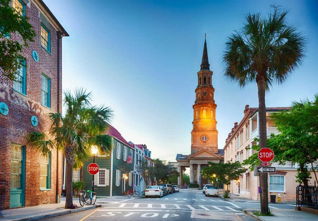 Downtown Charleston, South Carolina in the early evening