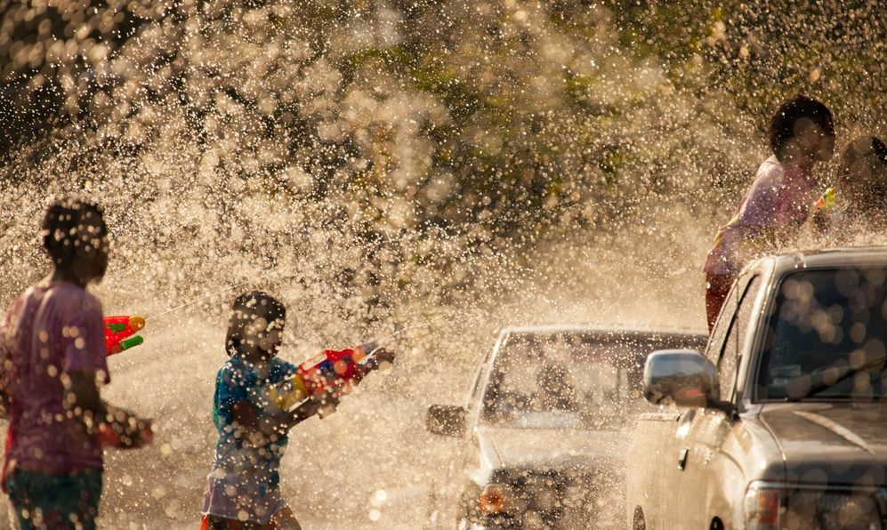 The Water Battle in Songkran Festival, celebration of Traditional Thailand New Year.