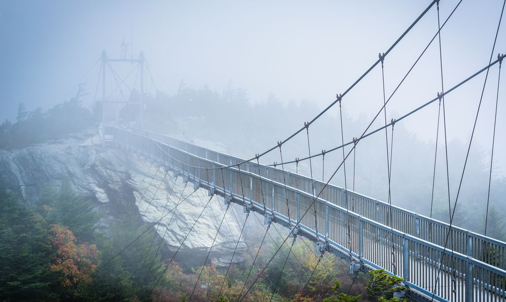 The Mile High Swinging Bridge in fog, at Grandfather Mountain, North Carolina