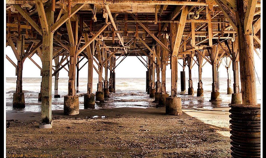 The structure under a pier in Galveston