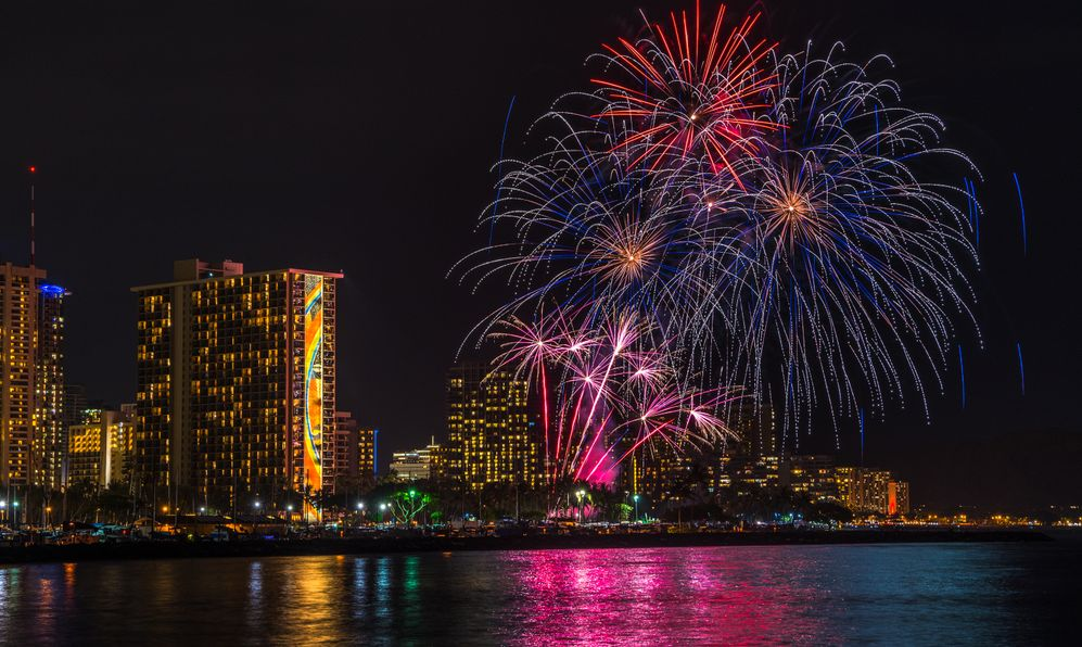 Every Friday night, the Hilton Hawaiian Village Resort puts on a fireworks display show for its guest and visitors at large off of Waikiki Beach.