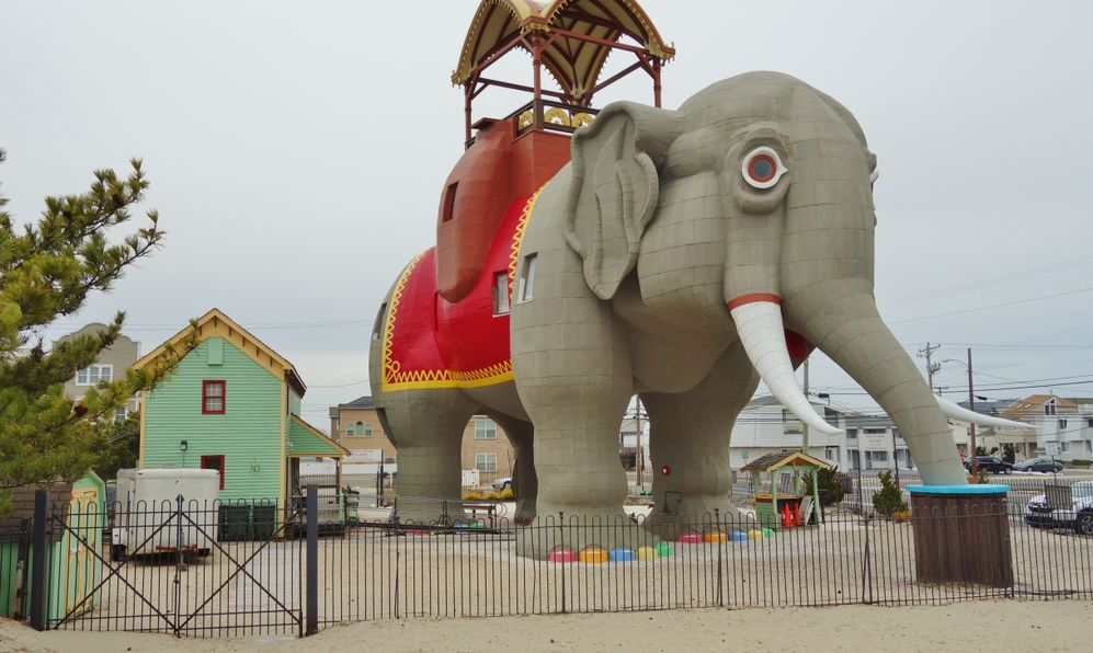 View of Lucy the Elephant, a six-story wooden elephant