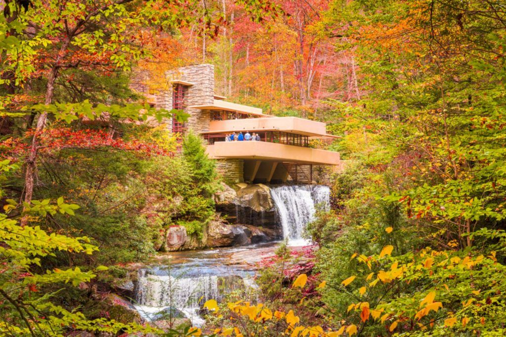 Fallingwater over Bear Run waterfall in the Laurel Highlands of the Allegheny Mountains