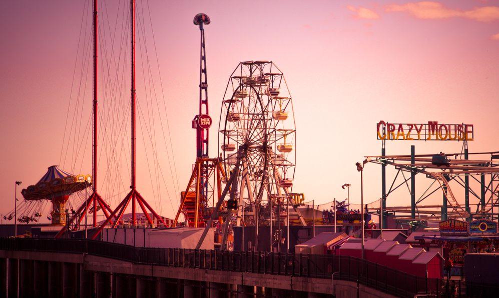 View of Steel Pier amusement park rides in Atlantic City, NJ