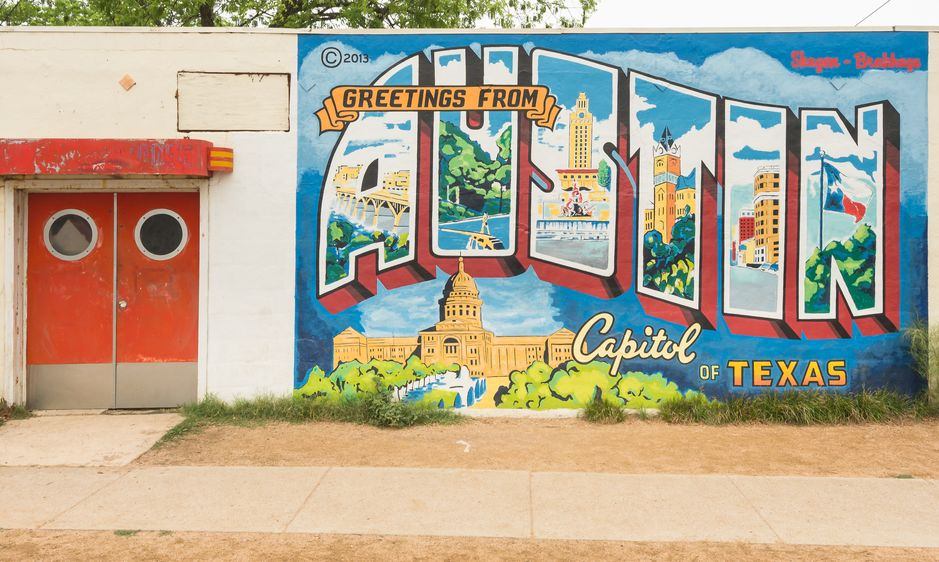 "Greetings From Austin - Capitol of Texas"" postcard mural, Roadhouse Relics building. Landmarks: Congress Avenue"