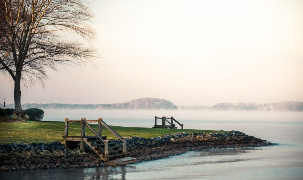 Lake Norman shoreline at sunrise