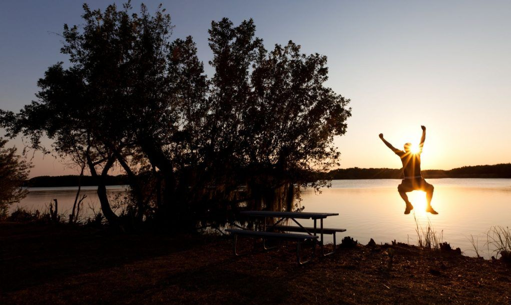 Happy man jumping during sunset