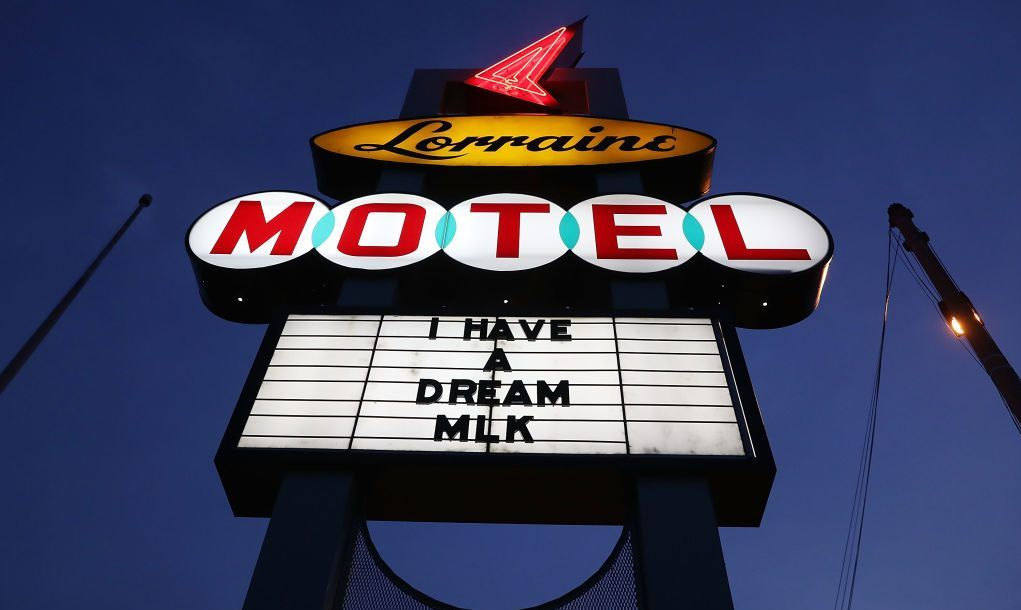 The sign is seen outside the Lorraine Motel, where Dr. Martin Luther King, Jr. was murdered, and is now part of the complex of the National Civil Rights Museum as they prepare for the 50th anniversary of his assassination on April 1, 2018 in Memphis, Tennessee. Over the next few days, the city will commemorate his legacy before his death on the balcony on April 4, 1968.
