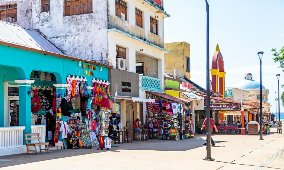 Tourists visit shops and restaurants in downtown Cozumel Mexico