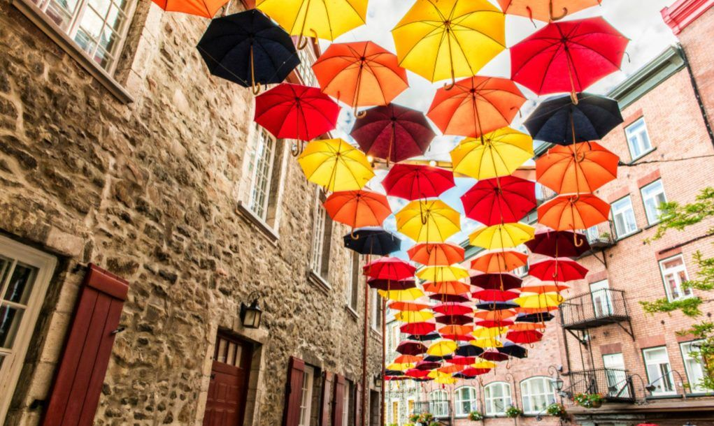 Lot of Umbrellas in Petit Champlain street Quebec city, Canada