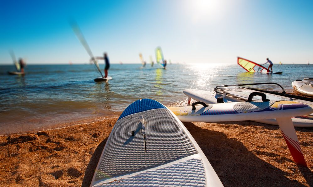 Windsurf boards on the sand at the beach.