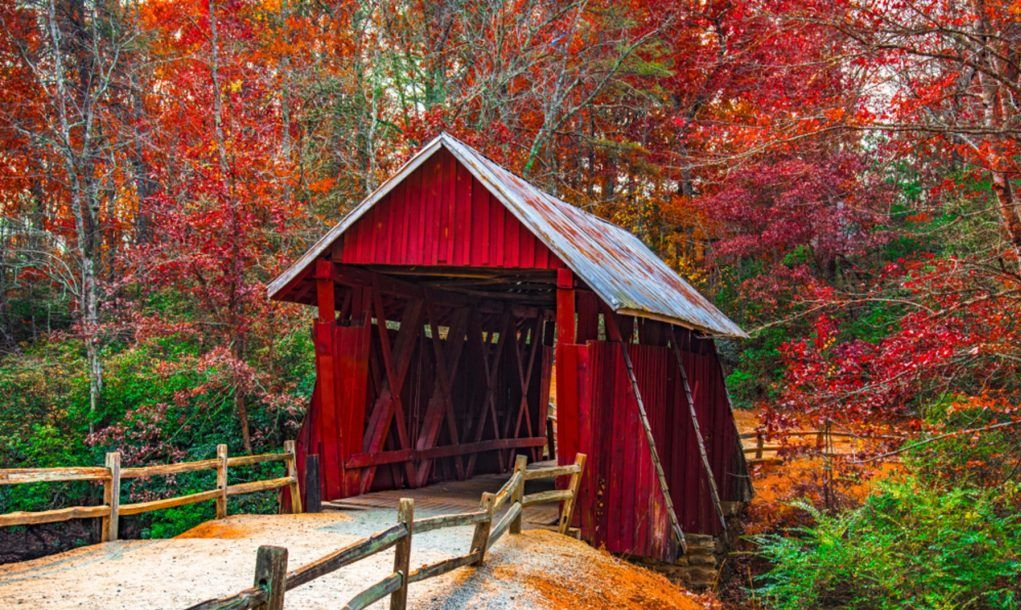 Historic Campbells Covered Bridge in Landrum near Greenville South Carolina SC