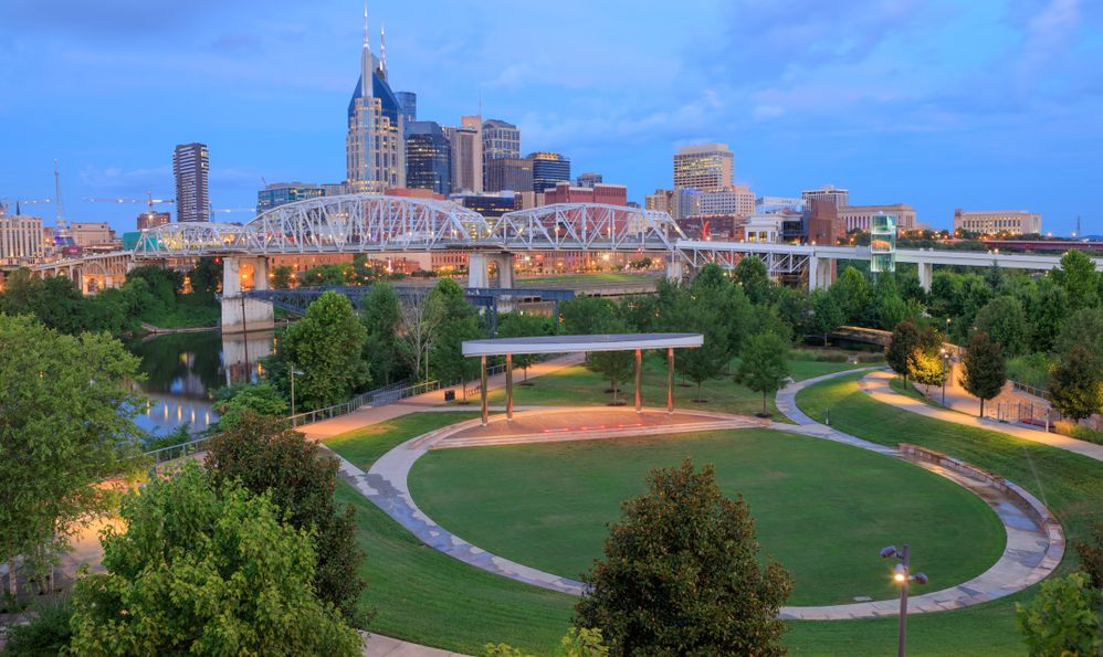 Cumberland Park and cityscape of downtown Nashville