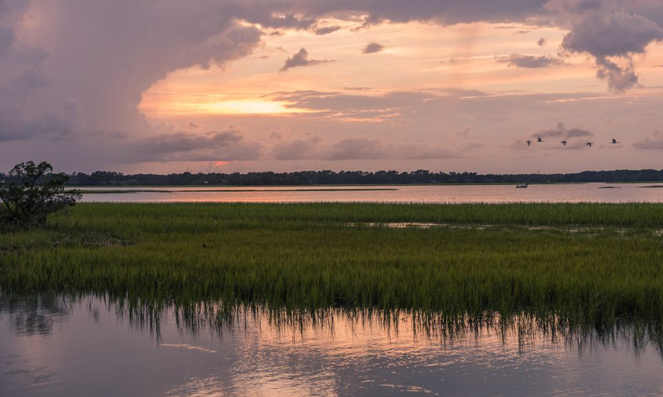 Sunset on Pinckney Island, a small nature reserve in South Carolina