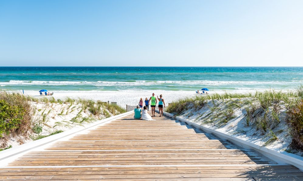Beach during sunny day in Florida panhandle town village with ocean, wooden boardwalk, high angle looking down on steps, people walking, sitting