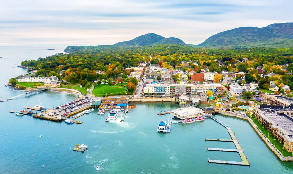 Aerial view of Bar Harbor, Maine. Bar Harbor is a town on Mount Desert Island in Hancock County, Maine and a popular tourist destination