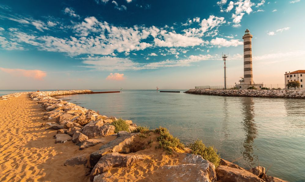Lighthouse on the beach of Lido di Jesolo near Venice, Veneto region, Italy