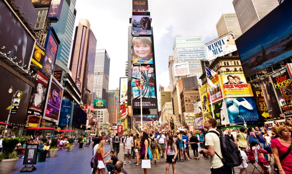 Times Square featured with Broadway Theaters and animated LED signs