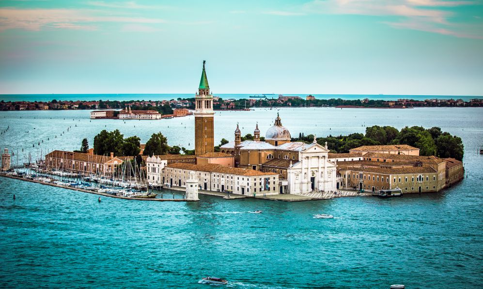 Aerial view of the Venice city scape with Basilica Di San Giorgio Maggiore and grande canal