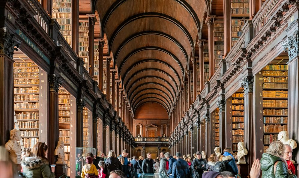 The famous interior view of the Book of Kells of Trinity College