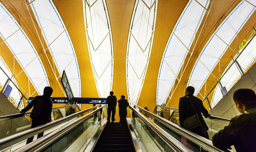 Interior of the shanghai pudong airport,modern indoors blackground