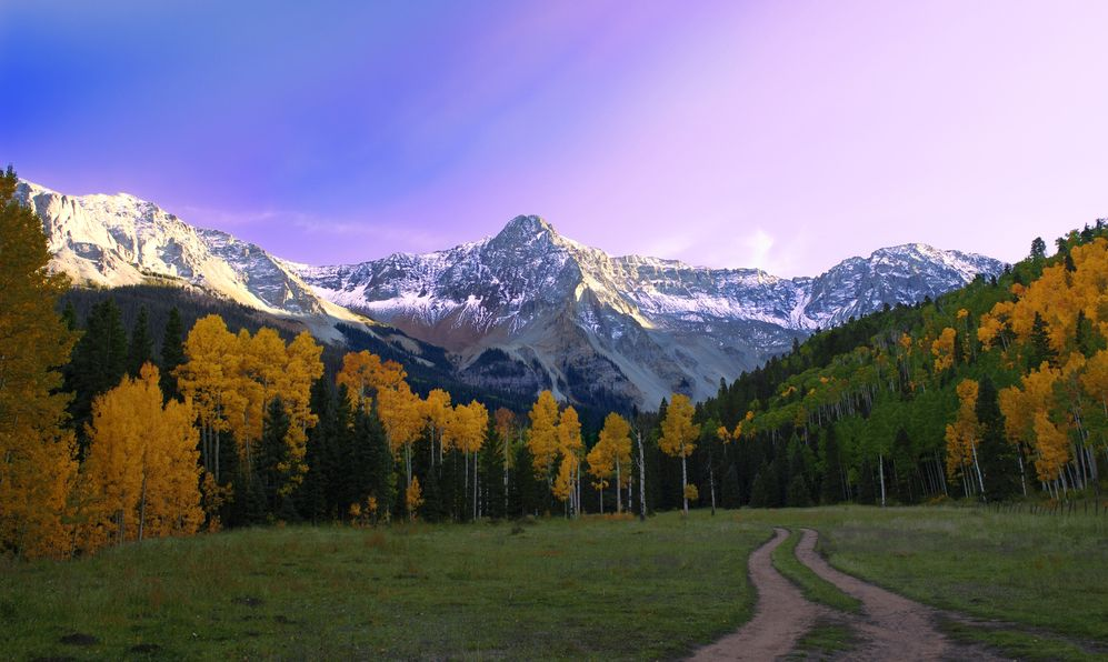 Beautiful Sunset in Telluride Colorado valley.