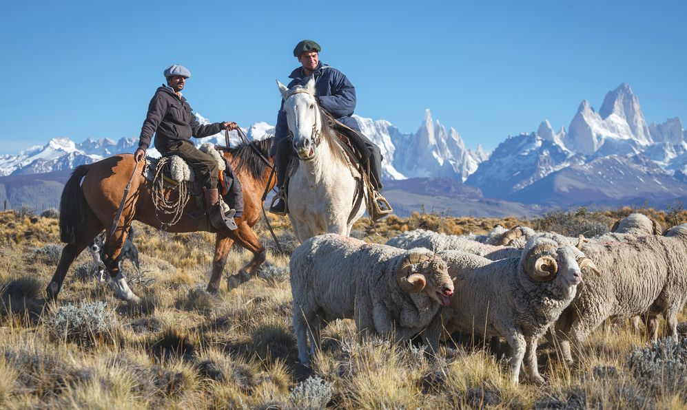 Gaucho against the backdrop of the famous mount Fitz Roy , Los Glaciares National Park, Patagonia, Argentina