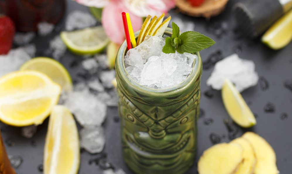 Tropical cocktails served in a tiki style glass