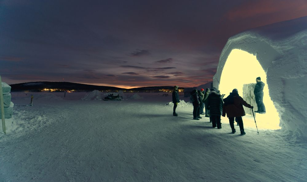 Exterior of Ice Hotel in Jukkasjarvi near Kiruna Sweden