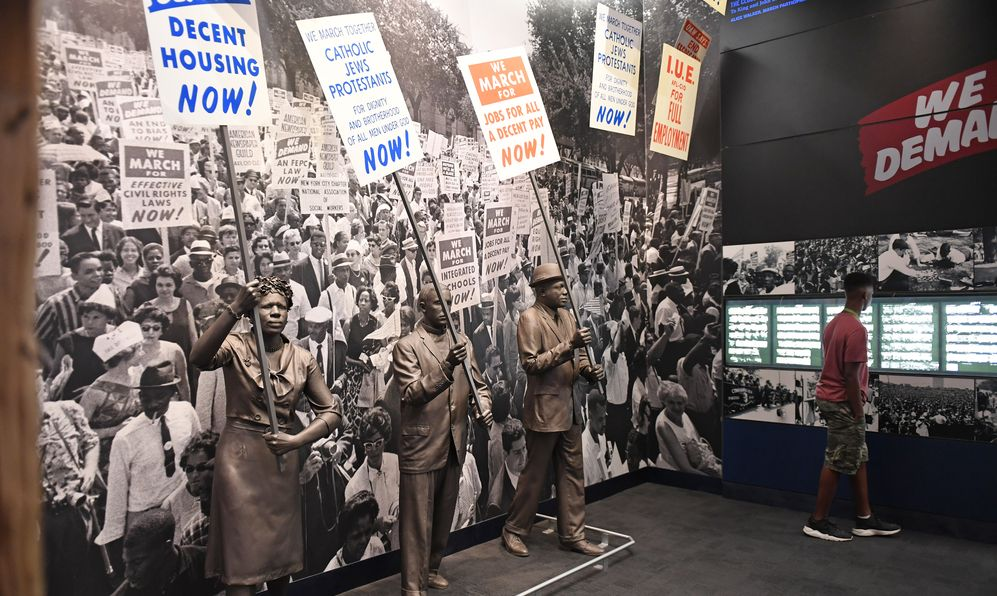 Protesters as part of exhibit at the National Civil Rights Museum