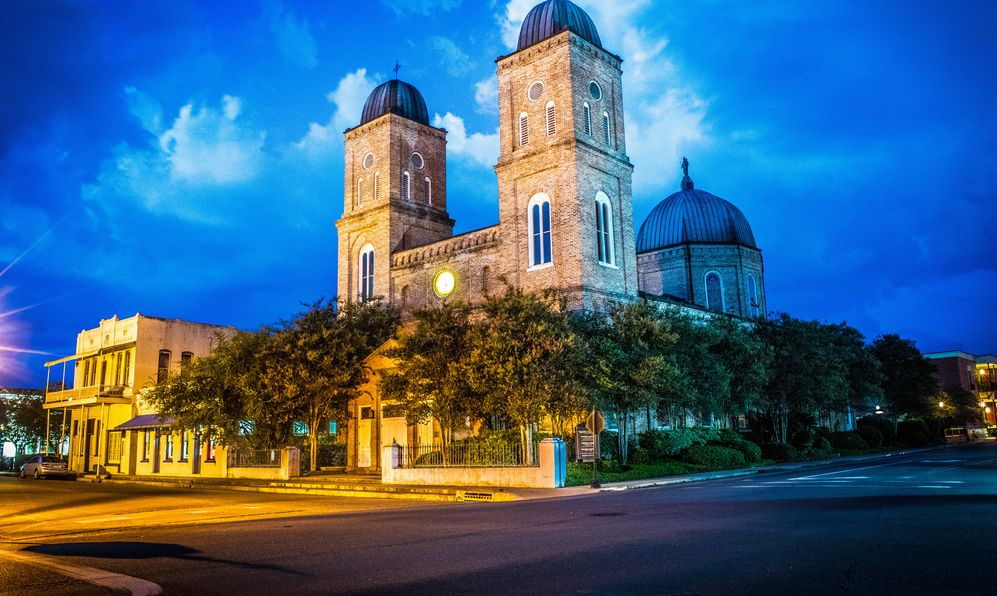 light trails at the Minor Basilica in Natchitoches Louisiana