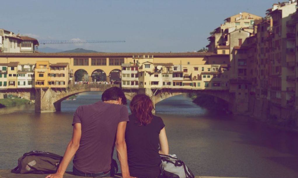 Ponte Vecchio in Florence, at noon in November